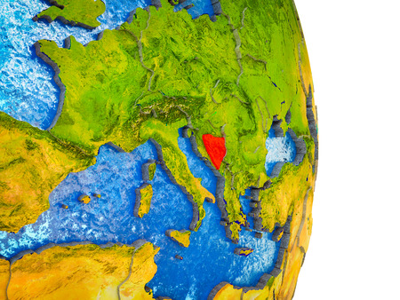 Bosnia and Herzegovina on 3D model of Earth with divided countries and blue oceans. 3D illustration. Stock Photo