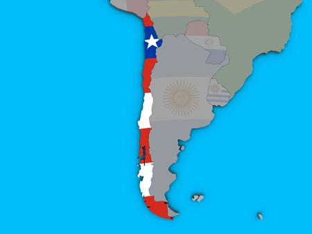 Chile with embedded national flag on blue political 3D globe. 3D illustration.