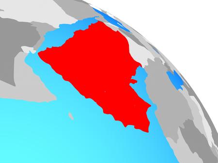 Arabia on simple blue political globe. 3D illustration.