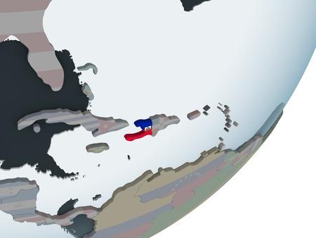 Haiti on political globe with embedded flag. 3D illustration. Stock Photo