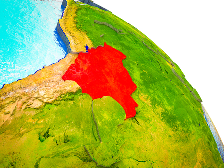 Bolivia Highlighted on 3D Earth model with water and visible country borders. 3D illustration.