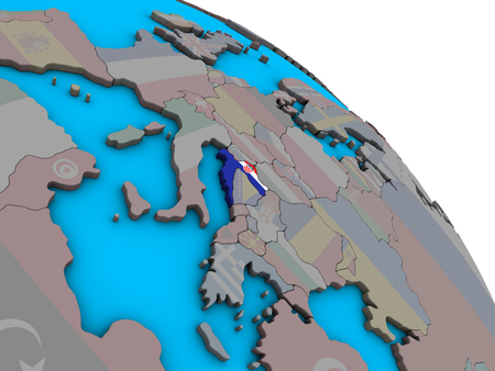 Croatia with embedded national flag on simple blue political 3D globe. 3D illustration. Фото со стока