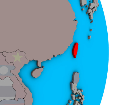 Taiwan with embedded national flag on simple political 3D globe. 3D illustration.