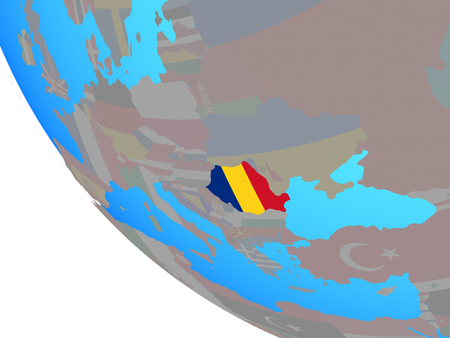 Romania with national flag on simple globe. 3D illustration. Stock Photo
