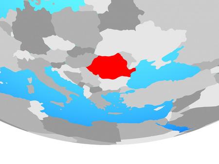 Romania on simple political globe. 3D illustration.