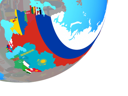 Former Soviet Union with embedded national flags on blue political globe. 3D illustration. Stock Photo