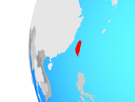 Taiwan on blue political globe. 3D illustration.