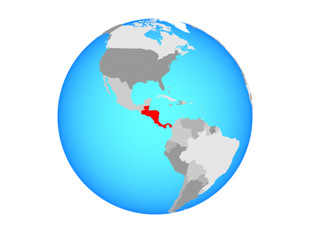 Central America on blue political globe. 3D illustration isolated on white background.