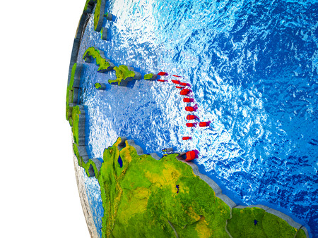 Caribbean highlighted on 3D Earth with visible countries and watery oceans. 3D illustration. Stock Photo