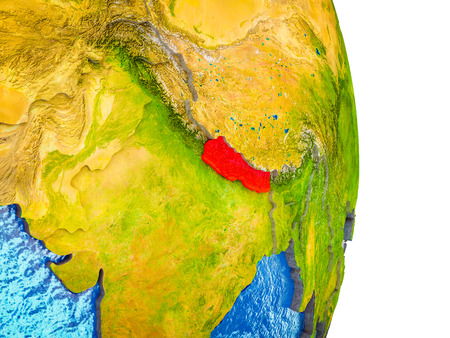 Nepal on 3D model of Earth with divided countries and blue oceans. 3D illustration.