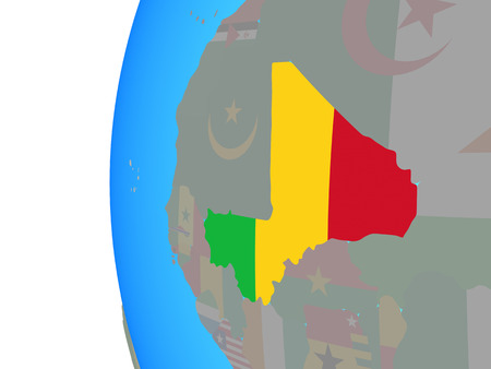 Mali with embedded national flag on blue political globe. 3D illustration. Stock Photo