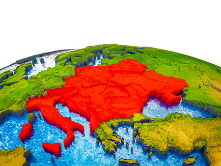 CEI countries on 3D Earth with visible countries and blue oceans with waves. 3D illustration.