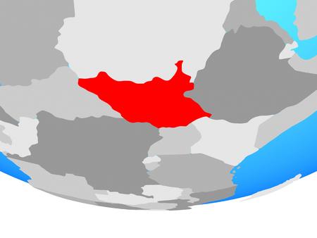 South Sudan on simple political globe. 3D illustration. 스톡 콘텐츠 - 110187532