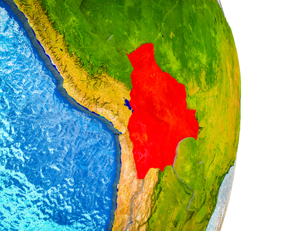 Bolivia on 3D model of Earth with divided countries and blue oceans. 3D illustration.