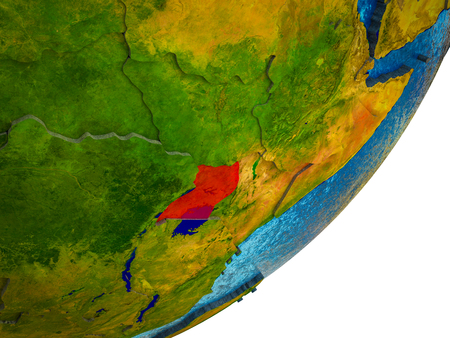 Uganda on 3D model of Earth with water and divided countries. 3D illustration.