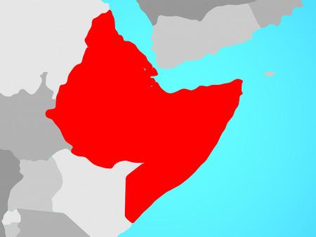 Horn of Africa on blue political globe. 3D illustration. Banque d'images - 110187547