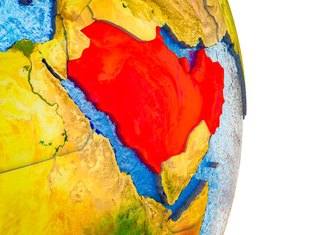 Arabia on 3D model of Earth with divided countries and blue oceans. 3D illustration. Stock Photo