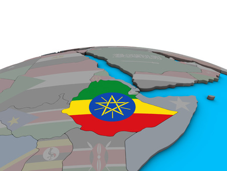 Ethiopia with embedded national flag on political 3D globe. 3D illustration. Stockfoto