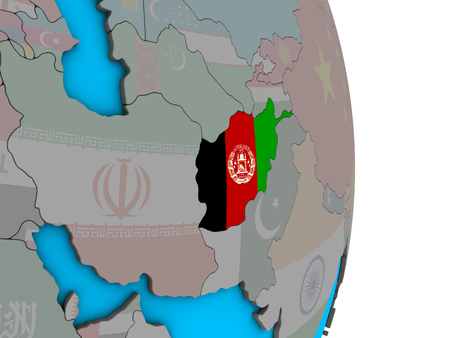 Afghanistan with embedded national flag on simple political 3D globe. 3D illustration. Stock Photo