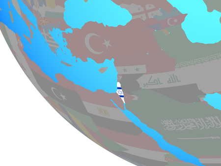 Israel with national flag on simple globe. 3D illustration. Stock Photo