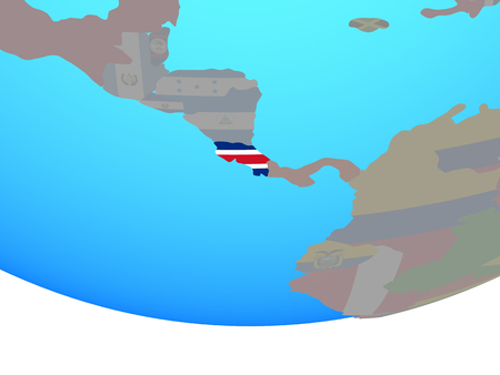 Costa Rica with national flag on simple political globe. 3D illustration.