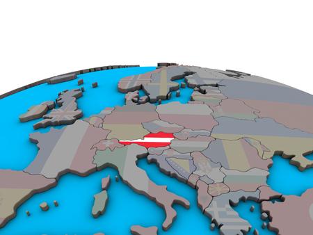Austria with embedded national flag on political 3D globe. 3D illustration. Standard-Bild - 110191952