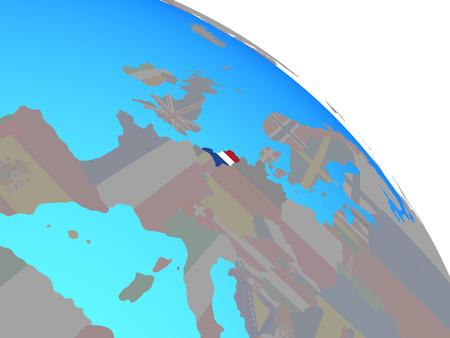 Netherlands with national flag on simple blue political globe. 3D illustration.