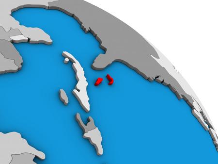 Bahamas on simple blue political 3D globe. 3D illustration. Stock Photo