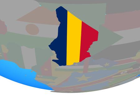 Chad with national flag on simple political globe. 3D illustration.