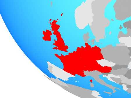Western Europe on simple globe. 3D illustration.