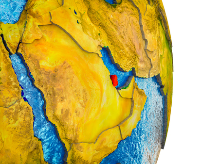 Qatar on 3D model of Earth with divided countries and blue oceans. 3D illustration.