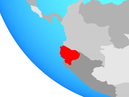 Ecuador on simple globe. 3D illustration. Imagens