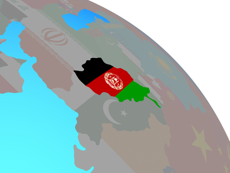 Afghanistan with national flag on simple blue political globe. 3D illustration.