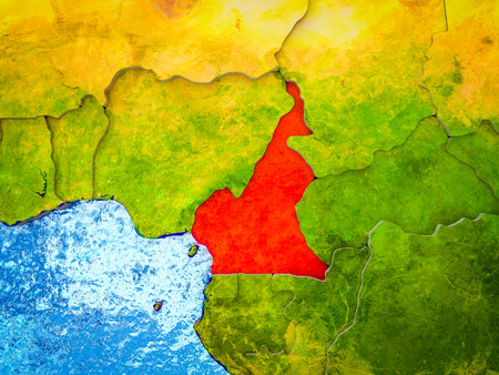Cameroon on model of 3D Earth with blue oceans and divided countries. 3D illustration.