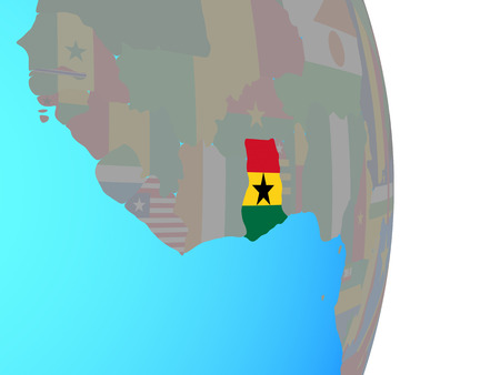 Ghana with national flag on simple political globe. 3D illustration. 스톡 콘텐츠