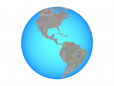 Costa Rica with national flag on blue political globe. 3D illustration isolated on white background.