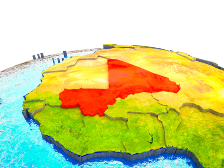 Mali on 3D Earth with visible countries and blue oceans with waves. 3D illustration. Stock Photo