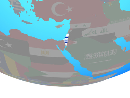 Israel with national flag on simple political globe. 3D illustration.