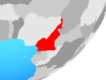 Cameroon on blue political globe. 3D illustration.