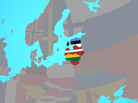 Baltic States with national flags on blue political globe. 3D illustration.