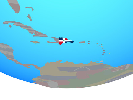 Dominican Republic with national flag on simple political globe. 3D illustration. 스톡 콘텐츠