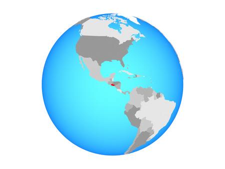 El Salvador on blue political globe. 3D illustration isolated on white background. Banco de Imagens