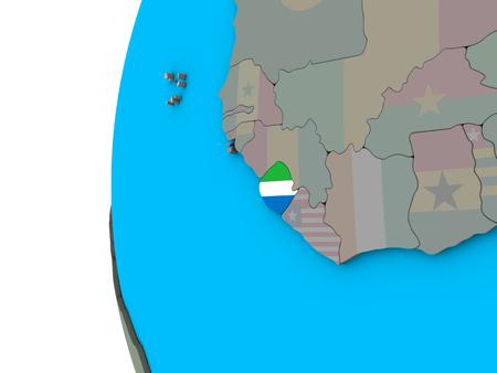 Sierra Leone with national flag on blue political 3D globe. 3D illustration.