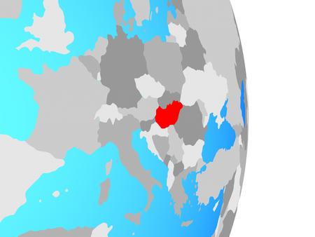 Hungary on simple political globe. 3D illustration.