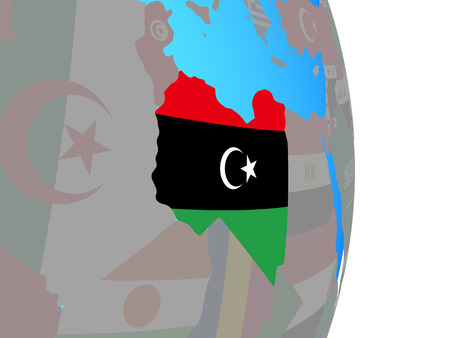 Libya with national flag on simple political globe. 3D illustration. Stock Photo