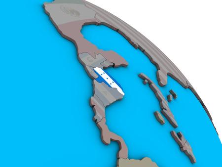 Honduras with embedded national flag on simple blue political 3D globe. 3D illustration. Stock Photo