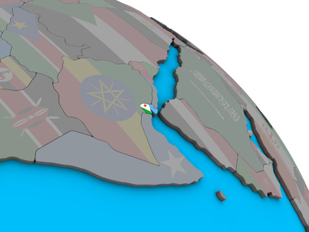 Djibouti with embedded national flag on simple blue political 3D globe. 3D illustration. Stock Photo