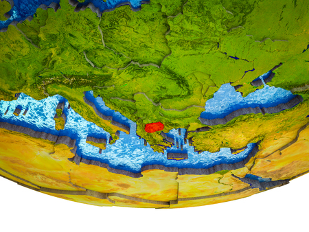 Macedonia on 3D Earth with divided countries and watery oceans. 3D illustration. Stockfoto - 110191519