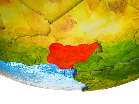 Nigeria on 3D Earth with divided countries and watery oceans. 3D illustration.