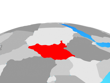 South Sudan on political globe. 3D illustration. Stock Photo